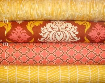 True Colors by  Joel Dewberry Fabric / MAPLE, Salmon,  / 4 Half Yard Bundle / Cotton Quilt Fabric