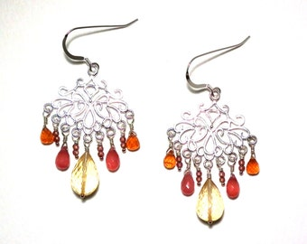 Jaime - Citrine, rhodochrosite, spessartite, and garnet earrings