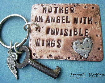 ANGEL Mother - Hand Stamped Modern Rustic Antiqued Copper and sterling silver key chain - Skeleton Key Chain, can be custom personalized too