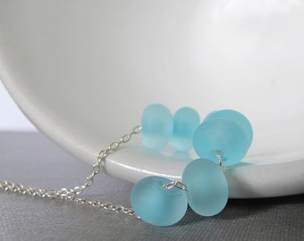 Silver Necklace, Pale Blue Glass, Blue Glass Necklace, Silver Chain, Sterling Silver, Baby Blue, Silver Jewelry, Blue Lampwork Glass
