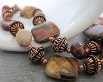 Red Creek Jasper, Jasper Necklace, Moukaite, Gemstone Necklace, Copper Jewelry, Copper Chain, Moukaite Nuggets,