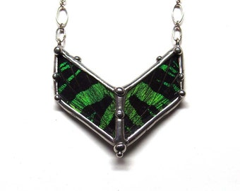 Small Sunset Moth Chevron Necklace - Real Butterfly Wings - Emerald Green