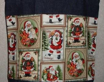 New Medium Handmade Santa Claus Squares Holiday Christmas Denim Tote Bag
