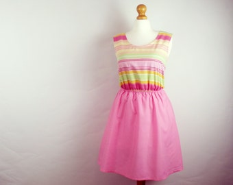 Cute pink stripe dress vintage cotton pink skirt skater dress mini dress small UK 6-8