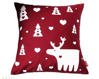 Red Moose Pillow 13 Inches Square