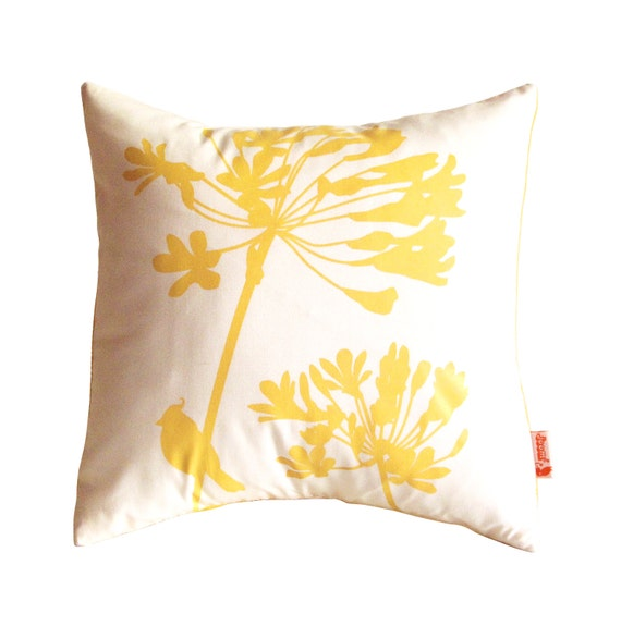 Yellow Print on Off-White Cardinal on Agapanthus-Mini 10.5 Inches Square Pillow