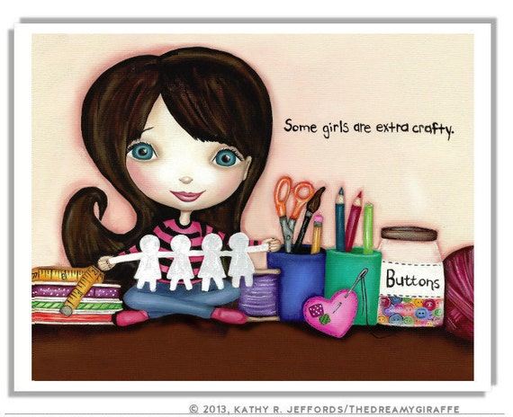 Some Girls Are Extra Crafty Girl Art. Colorful Craft Room Print. Art Studio Decor. Little Girl's Room Wall Art. Artsy Crafty Quote Print.