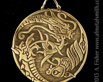 Bronze Triple Dragons- a Pendant with Celtic influences