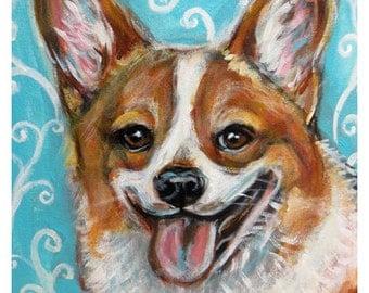 Happy Welsh Corgi smile art original dog painting