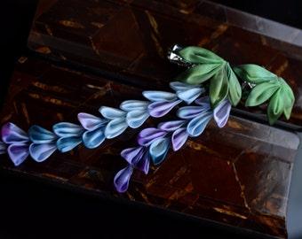Blue Purple Wisteria Kanzashi.  Fujimusume.  Hand dyed Silk hair clip. Made to Order