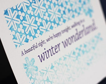 Winter Wonderland Notecards, set of four, gocco printed