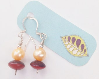 Bohemian Chic Handmade Wood, Freshwater Pearl, and Silver Earrings