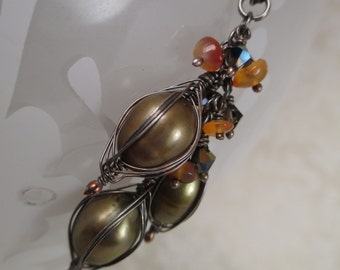 Double Wrapped Olive Pearl Necklace with Carnelian and Swarovski Crystal