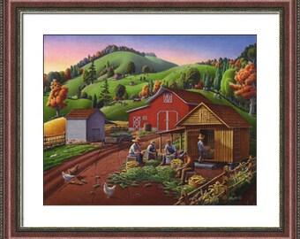 Fall decor print, Folk art farm, farmers shucking corn framed and matted landscape print, corn crib, corncrib, autumn harvest, Americana