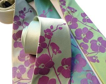 4 silk wedding neckties. Choose from our orchid design and more. Matching silkscreen design - wedding groomsmen discount.