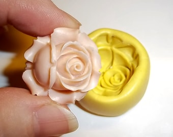 Rose Flower Flexible Push Mold Mould For Resin Clay Chocolate Crafts - Food Safe Silicone - F154