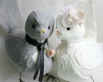 Wedding Cake topper Love Birds - Love Birds cake topper  - Wedding bird cake topper - Fabric Bird Cake Topper- CUSTOM ORDER