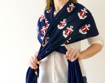 Nautical Themed Pashmina Afghan With Anchors