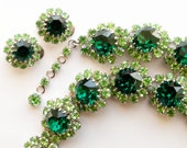 2 Day Sale. Vintage Emerald green Austrian Crystal necklace and earring set.