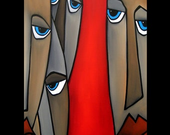 Wherever - Original Abstract painting Modern pop Art Contemporary Portrait FACE by Fidostudio