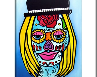 Modern pop Art print abstract painting Contemporary colorful portrait face sugar skull decor by Fidostudio