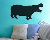 "Hippo Silhouette Chalkboard Wall Decal - 12"" x 24"""