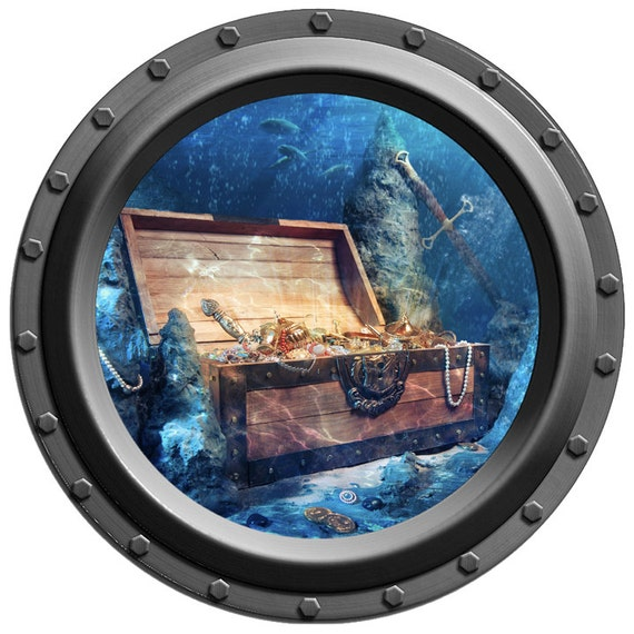 Underwater Treasure Chest Porthole Vinyl Wall By