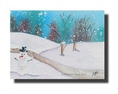 ACEO Snowman Snow Winter Christmas ORIGINAL watercolor painting
