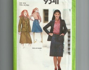 Simplicity Young Junior/Teen's Jean Skirt and Unlined Jacket Pattern 9341
