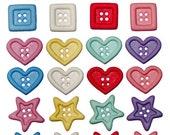 Chunky shape buttons set of 12