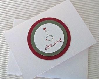 Olive You pun card handmade stamped blank friendship Valentine I love you anniversary funny circles greeting paper party