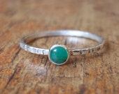 Tiny Green Emerald Ring - Gemstone Stackers - Tiny Stacking Ring - Sterling and Fine Silver