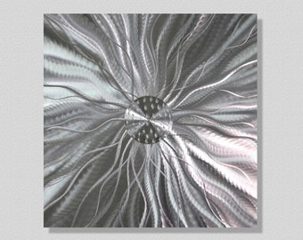 Contemporary Metal Wall Art - All Natural Silver Abstract Wall Sculpture - Etched Home Decor - Metalic Accent - Static Energy by Jon Allen