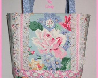 Pink Roses Purse Tote Bag Blue Lace Floral Rose Handmade Made in USA