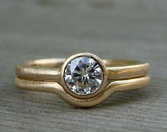 Moissanite and Recycled 14k Yellow Gold Engagement Ring and Wedding Band Set - Diamond Alternative - Made To Order