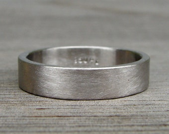 Recycled 950 Palladium Matte / Brushed Wedding Band, Square Edged, Eco-Friendly, Ethical, Mens or Womens, Made To Order