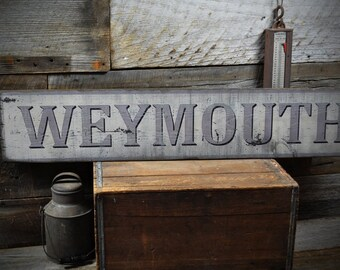 Custom City, Town Sign  - Rustic Hand Made Vintage Wooden Sign  ENS1000168