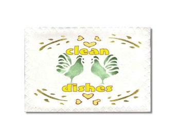 Dishwasher Clean Dirty Magnet flip sign Chickens Retro Stenciled green clean red dirty
