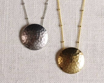 full moon // hammered circle necklace . textured circle necklace . silver circle necklace . gold circle necklace . circle jewelry
