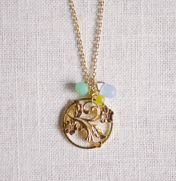 SALE . espalier // gold branch necklace . flower jewelry . delicate flower necklace . gemstone jewelry . flower charm necklace