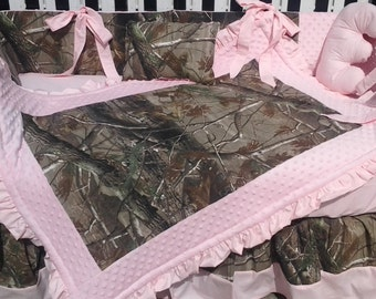 New 7 piece Real Tree brown CAMOUFLAGE baby crib bedding set w/ soft pink minky dot fabrics camo