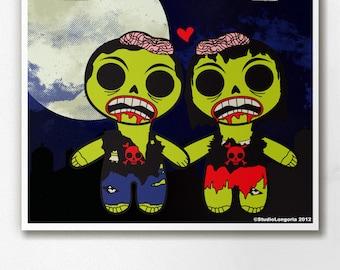 Zombie Couple Wall Art Print