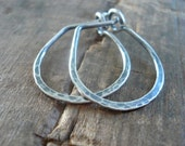 Hammered Pony Horseshoe Hoops - Handmade. Hand forged. Sterling Silver or 14kt goldfill Earrings