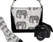 SET Dslr Camera Bag and Dslr Camera Strap, Camera Bag Slr and Camera Neck Strap, elephants paisley gray black MTO