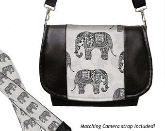 SET Dslr Camera Bag and Dslr Camera Strap, Vegan Leather Camera Bag Slr and Camera Neck Strap, elephants paisley gray black MTO