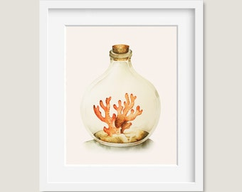 """Watercolor Painting - Watercolor Coral - """"The sea is calling"""" - 8 by 10 print - Archival Print, Beach House Décor, Home Decor, Ocean Art"""