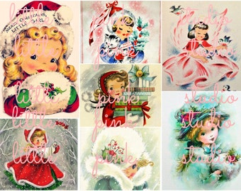 Christmas Cuties Collage Sheet (printed on fabric, cardstock, or sticker paper)