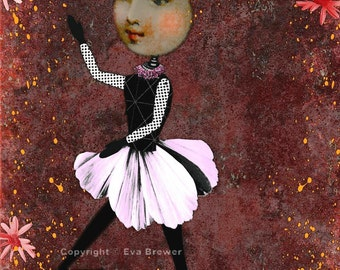Dancing with the stars altered art collage digital download original floral dance