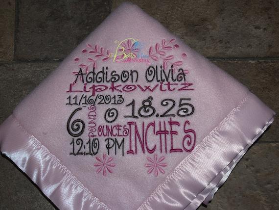 Custom Birth Announcement Blanket Custom Baby Blanket For
