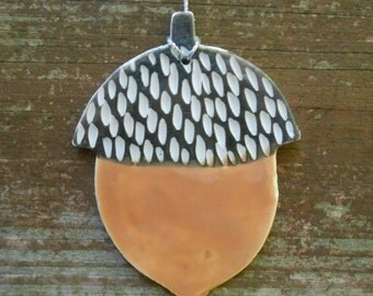 SALE Carved Porcelain Acorn Ornament